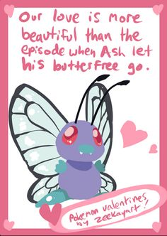 Butterfree Valentines card #butterfree #pokemon #valentines day #card