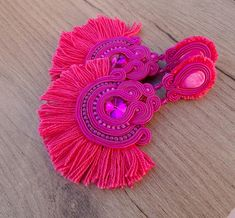 Pink Tassel Earrings, Clip On Earrings Statement, Long Soutache Earrings, Tassel Earrings, Pink Earrings, Clip on Earrings, Soutache Ive made these eyecatching statement earrings in soutache eombroidery technique , using soutache cords , beads, crystals, tassels, cup chain and
