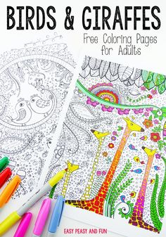 Birds and Giraffes Coloring Pages for Grown Ups - Easy Peasy and Fun