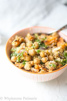 Hearty vegan salad of warm sweet potatoes and whole chickpeas tossed ...