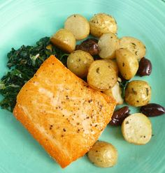 For Love of the Table: Market Inspiration...Salmon with Wilted Greens, New Potatoes, Olives & Lemon