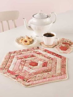 Hexie Table Mat and Coasters - Quilting Digest