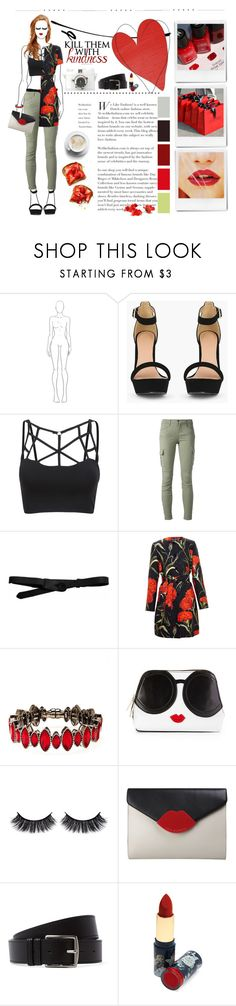 """Feeling Romantic?"" by theroyalglam ❤ liked on Polyvore featuring J Brand, Lowie, Dolce&Gabbana, Henri Bendel, Alice + Olivia, Battington, Lulu Guinness, Poketo, Hermès and Accessorize"