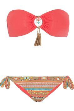 Emamó | Aymara embellished bandeau bikini
