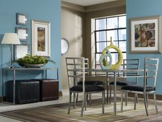 The neat thing about this series is the low visual profile, which helps a smaller space seem larger.  Sydney Dining Room Set via @Cort Hightower Furniture