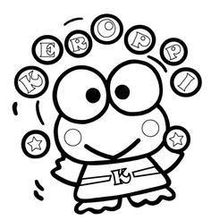 Keroppi Ball Juggling Coloring Pages