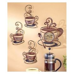 Kitchen Wall Decor Coffee Themed Kitchen Coffee Cups And Kitchen