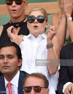 Rosamund Pike attends day 12 of the Wimbledon Tennis Championships at Wimbledon on July 11, 2015 in London, England.