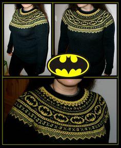 Inspiration picture - Batman Fair Isle Sweater - Lizzy Knits - Day by day!: Batman got a DD! Knitting Blogs, Free Knitting, Knitting Projects, Crochet Projects, Knitting Patterns, Crochet Patterns, Vogue Knitting, Knitting Tutorials, Stitch Patterns