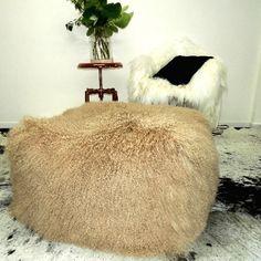 TIBETAN  LAMB POUFFE CAMEL XL - Decor Hides - Cowhide Rugs & Hair On Hides