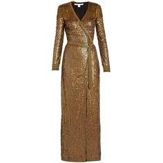 Diane Von Furstenberg Ariel Armour dress ($2,200) ❤ liked on Polyvore featuring dresses, gold, brown dress, embellished cocktail dress, sequin wrap dress, beaded cocktail dress and wrap dress