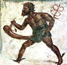 Priapus-Hermes (Mercury), phallic fertility god, with caduceus | Roman fresco Pompeii