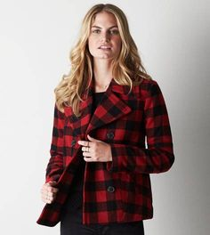 Red AEO Wool Pea Coat