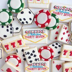 Vegas themed birthday!  #decoratedcookies #customcookies #sarahscustomcookies #vegas