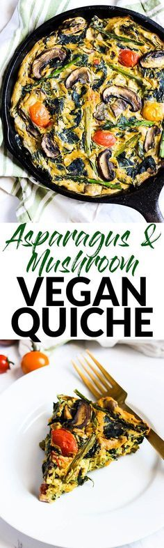 Asparagus & Mushroom Vegan Quiche – Emilie Eats - MUST TRY RECIPE! This Asparagus & Mushroom Vegan Quiche is a delicious option for breakfast or brun - Vegan Breakfast Recipes, Vegetarian Recipes, Healthy Recipes, Vegetable Recipes, Easy Recipes, Vegetarian Brunch, Vegetable Medley, Protein Breakfast, Protein Recipes