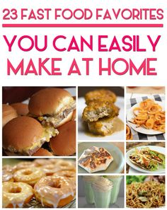 23 Copycat Recipes For Your Favorite Fast Foods such as DIY homemade recipe for Starbucks Spinach Feta Wrap , Krispy Kreme Glazed Donuts , McDonald's Chicken Nuggets , Panda Express Chow Mein , Arby's Classic Curly Fries , KFC Coleslaw and more!