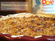 This looks friggin divine for a hot day, last minute, what in the world am I going to throw together in 30 minutes, everything better be in the pantry type of dessert. Pineapple Coconut Crisp Dessert #dolehula