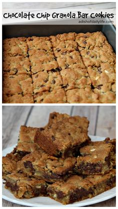 Delicious Chocolate Chip Granola Bar Cookies...easy to make and so good! adishofdailylife.com