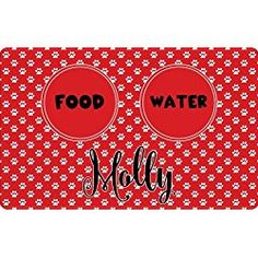 Personalized Pet Food Mats - Red Pet Paw