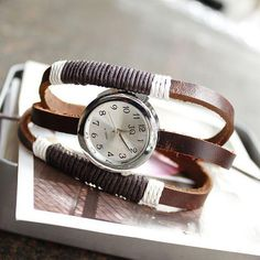hot sale Russia 3 ring Handmade rope antique watch brown cow leather