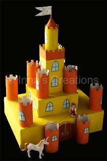 Inna's Creations: Make a cardboard castle using discarded boxes and toilet paper rolls (toilet paper roll crafts rocket) Toilet Roll Craft, Toilet Paper Roll Crafts, Kids Toilet, Toy Castle, Kids Castle, Castle Project, Castle Crafts, Junk Modelling, Cardboard Toys