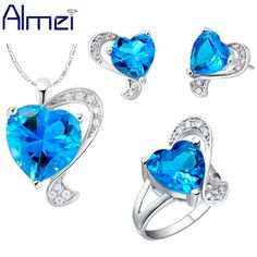Find More Jewelry Sets Information about Almei Wedding Necklace Set 925 Silver Jewelry for Women Blue Crystal Earrings Ring Accessories Sets Ring with Sapphire T269,High Quality necklace gemstone,China necklace gift Suppliers, Cheap necklace katherine from Almei Jewelry Store on Aliexpress.com
