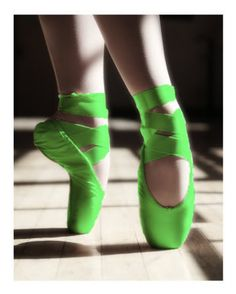 """""""Ballet is dreaming on your feet. Yellow Ballet Shoes, Ballerina Shoes, Colored Pointe Shoes, Ballet Costumes, Dance Costumes, Green Photo, Ballet Photography, Ballet Dancers, Ballerinas"""