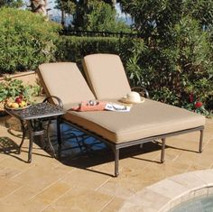 """2pc Double Chaise Lounge Chair Set w/ End Table by AFD. $1499.00. Dimensions: 75""""L X 52""""D X 39.5""""H. Weather resistant deep plush cushions. End table included. Shipped insured. Brand new. The Fiesta collection combines the functions of dining with the comfort of deep seating to create a versatile grouping. Whether relaxing with an intimate gathering of friends or for the most active of lifestyles, this high-quality, cast aluminum collection will be enjoyed by all. The d..."""