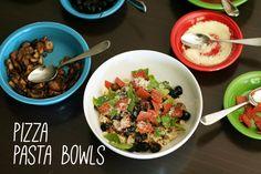 Pizza pasta bowls - Make and Takes #pizza #pasta #kidsfood