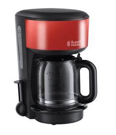Russell Hobbs Colours 20131-56 Glas-Kaffeemaschine Flame mit Brausekopf-Technologie und Schnellheizsystem rot / schwarz