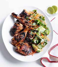 Australian Gourmet Traveller recipe for grilled chicken with cucumber, carrot and Asian herb salad.