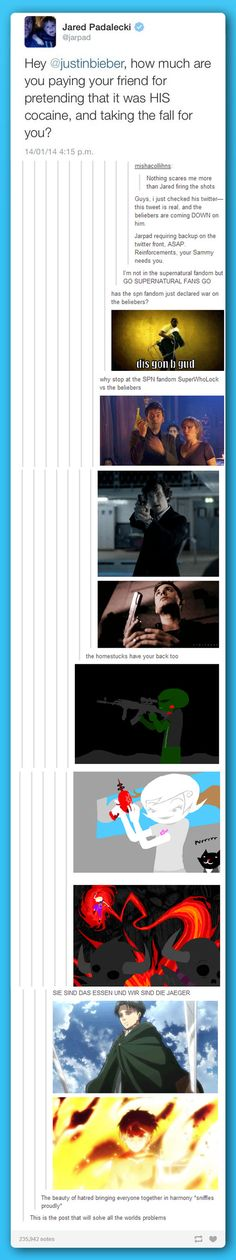 the Dr.Who, Sherlock, Homestuck, SNK ETC fandom at WAR!----> THE FANDOMS HAVE UNITED ONCE MORE