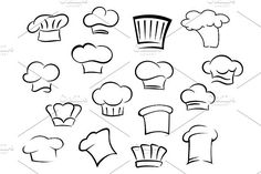 Illustration of Chef hats icons with white professional uniform caps for kitchen staff in doodle sketch style vector art, clipart and stock vectors. Doodle Icon, Doodle Sketch, Cartoon Chef, Cute Cartoon, Pencil Illustration, Graphic Design Illustration, Koch Tattoo, Food Art Painting, Chef Logo