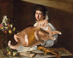 Caravaggio, The Lute Player with the Cat by Fat Cat Art Caravaggio, Fat Cats, Cats And Kittens, Ragdoll Kittens, Funny Kittens, White Kittens, Adorable Kittens, Cat Whisperer, F2 Savannah Cat