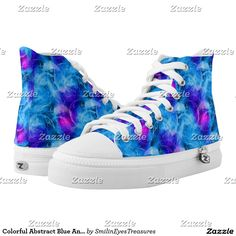 Colorful Abstract Blue And Pink Bubbles Pattern Printed Shoes at Smilin' Eyes Treasures on Zazzle.