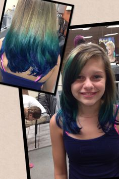 Teal and blue dip dye. Hair by Lana  At Hair Cuttery @ Lebanon Valley mall
