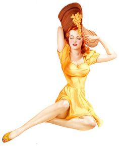 Alberto Vargas - This painting appeared in May 1942, hence the spring flowers on that hat.