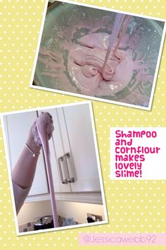 Shampoo and cornflour mixed together with a little water makes lovely stretchy slime! EYFS