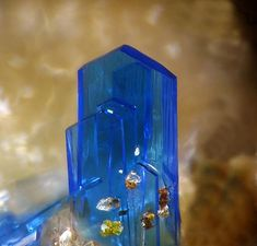 Linarite  Ramsbeck, Sauerland; Germany  fov 1 mm Photo by Christian Rewitzer
