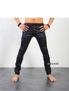 Mens Wax Coated Real-Skinny Biker Jeans at Fabrixquare