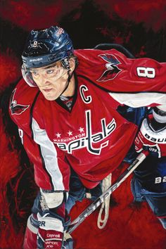 "Hockey Player Alex Ovechkin ""Intimidation"" ORIGINAL Oil Painting - With Authentic Autograph. Size: x ~Done By Artist Justyn Farano~ Alexander Ovechkin, Sports Painting, Alex Ovechkin, Ice King, Washington Capitals, World Of Sports, Sports Stars, Hockey Players, Ice Hockey"