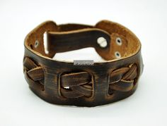 Soft Brown Leather  Jewelry Bangle
