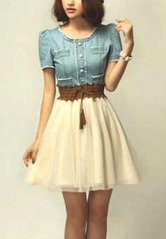 Light Blue Denim Short Sleeve Contrast Net Belt Dress