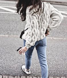 Cozy knitted sweater, jeans, sneakers