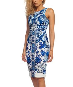 Another great find on #zulily! Blue & White Ceramic Bodycon Dress #zulilyfinds
