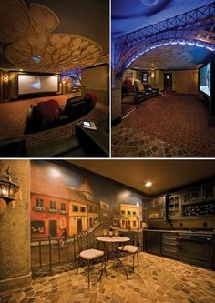 """Jason Crist wanted to bring some Paris back to his home in Nashville, so he hired designer Donny Hackett to build an incredible Paris-themed home theater. It comes complete with a """"ceiling structure [that] was modeled after a rose window in the Notre Dame cathedral."""""""