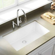 Blanco Precis Silgranit L x W Double Basin Undermount Kitchen Sink Blanco Kitchen Sinks, Apron Sink Kitchen, White Kitchen Sink, Single Bowl Kitchen Sink, Farmhouse Sink Kitchen, New Kitchen, Kitchen Ideas, Granite Kitchen, Kitchen Design