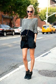 Poppy Delevigne. Shorts and stripes.