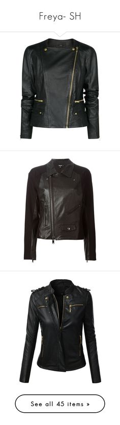 """""""Freya- SH"""" by inestrindade on Polyvore featuring outerwear, jackets, leather jacket, coats, black, motorcycle jacket, leather motorcycle jacket, biker jacket, asymmetrical zipper jacket and genuine leather biker jacket"""