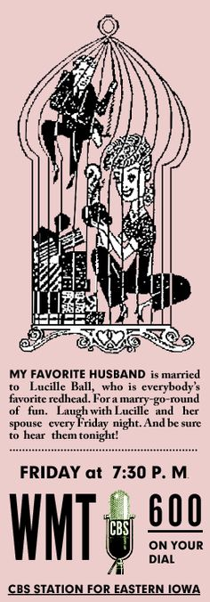 Lucille Ball, My Favorite Husband Spot Ad from Dec. 22,1949 found on digitaldeliftp.com